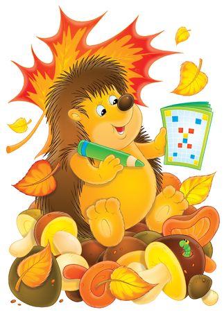 Hedgehog and crossword Stock Photo