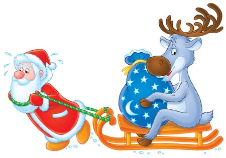 Santa Clause and Reindeer Stock Photo - 2966964