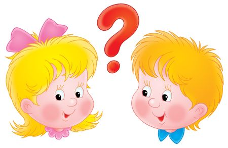 child clipart: Girl and boy Stock Photo