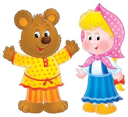 Bear-cub and rural girl Stock Photo - 3103516