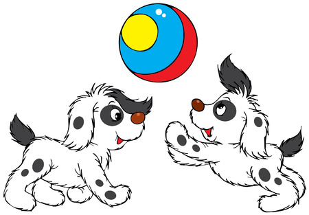 Playing puppies Vector