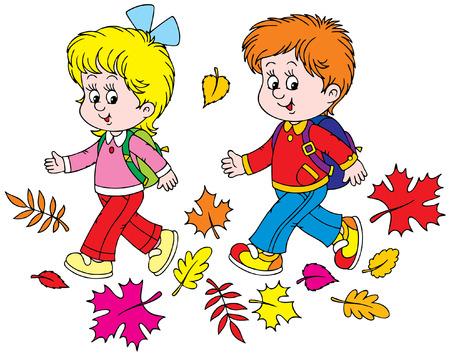 young schoolgirl: Schoolboy and schoolgirl
