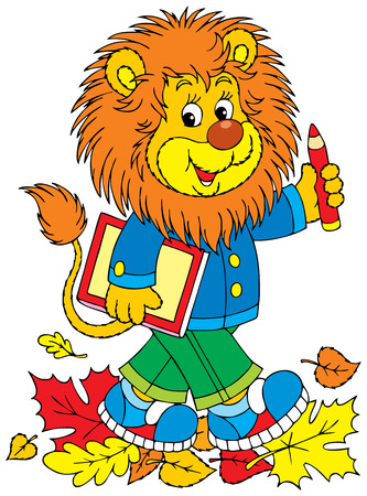 grammar: Lion schoolboy Illustration