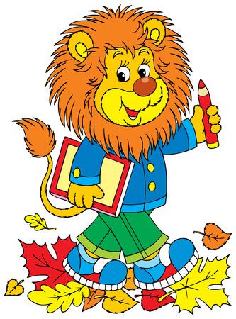 Lion schoolboy Illustration