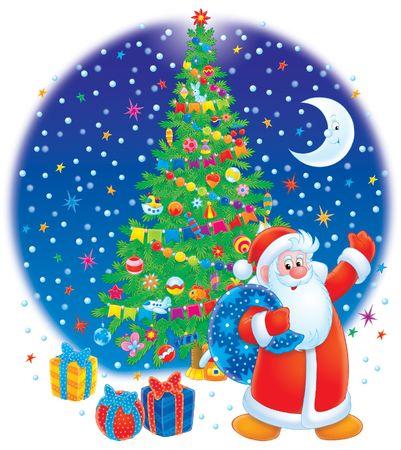 Santa Clause and Christmas tree Stock Photo - 3639223