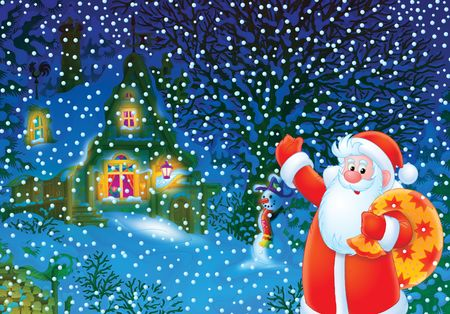 newyear night: Christmas background with Santa Clause
