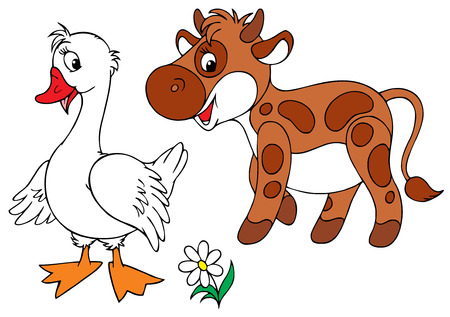 White Goose and brown calf Illustration