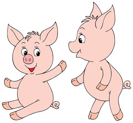 piglets: Pink Piglets Illustration