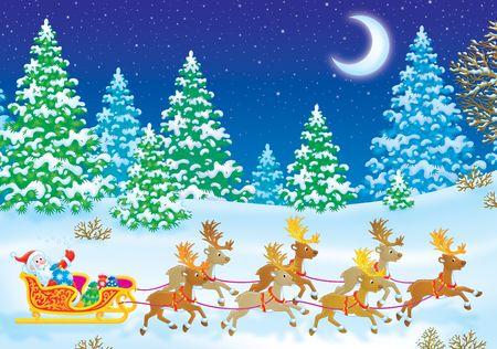 Babbo Natale sulla sua slitta con renne Archivio Fotografico - 3701688