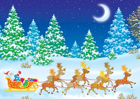 Santa Clause on his sleigh with reindeers Stock Photo - 3701688