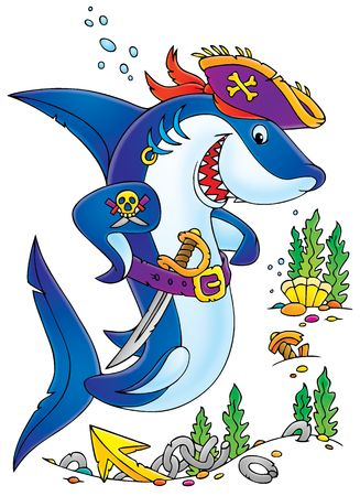 at the bottom of: Shark Pirate (clip-art with black contour) Stock Photo