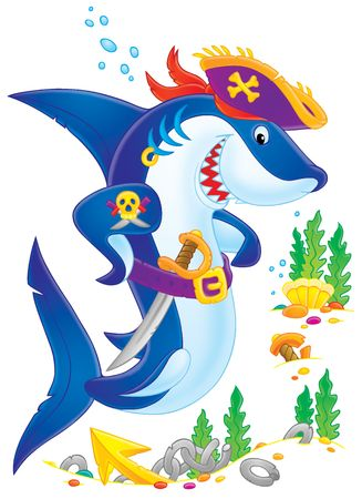 Shark Pirate (clip-art with color contour)