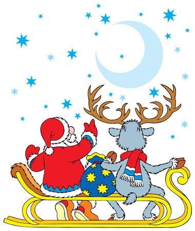 Santa Claus y los renos Foto de archivo - 3713203