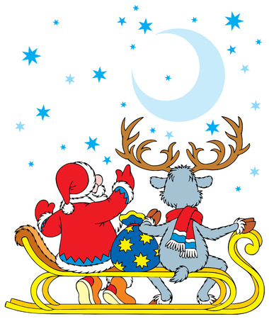 Santa Clause and Reindeer Stock Vector - 3713203