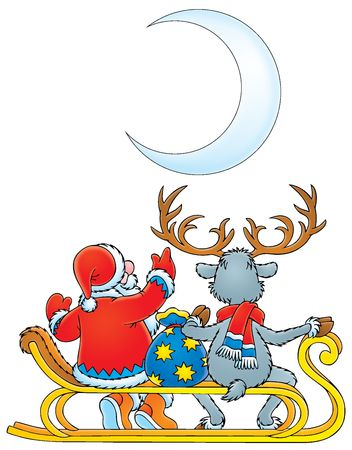 Santa Clause and Reindeer (black contour) Stock Photo - 3717353