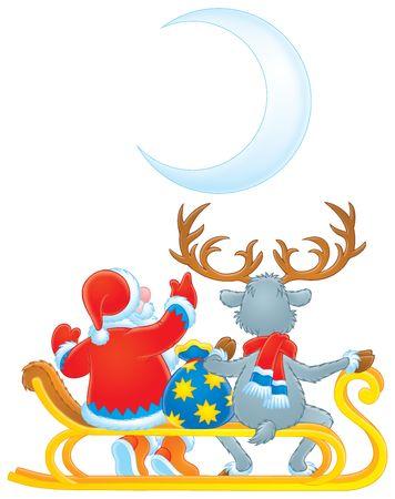 Santa Claus y renos (color de contorno) Foto de archivo - 3717352