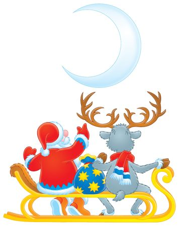 Santa Clause and Reindeer (color contour) Stock Photo - 3717352