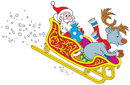 kiddish: Santa Claus and Reindeer rush in the sledge