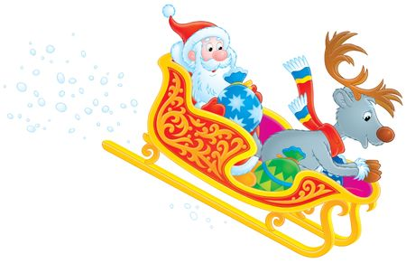 grandfather frost: Santa Claus and Reindeer rush in the sledge