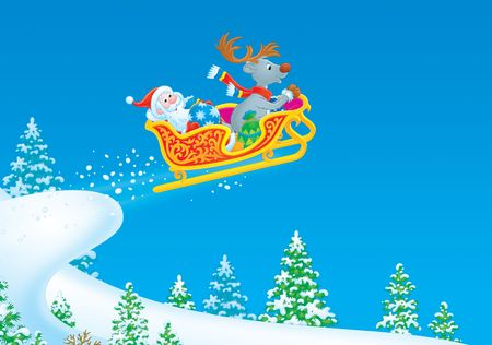 Santa Claus and Reindeer flies in the sleigh Stock Photo - 3743897