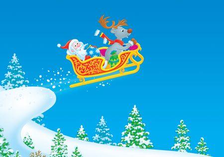 Santa Claus renos y vuela en el trineo Foto de archivo - 3743897
