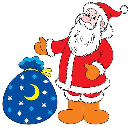 newyear: Santa Claus con los regalos de Navidad