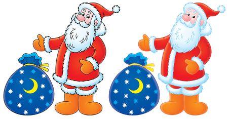 Santa Claus con los regalos de Navidad (de color negro y contornos) Foto de archivo - 3749602