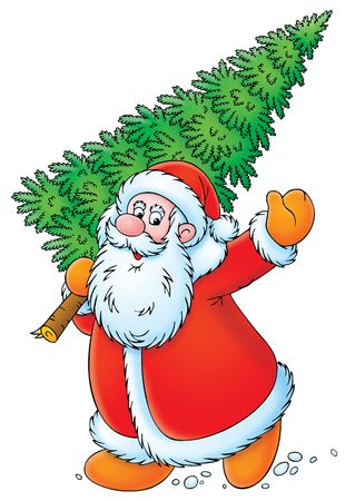 weihnachtsmann lustig: Weihnachtsmann mit Weihnachtsbaum