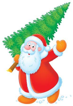 weihnachtsmann lustig: Santa Claus mit Weihnachtsbaum LANG_EVOIMAGES