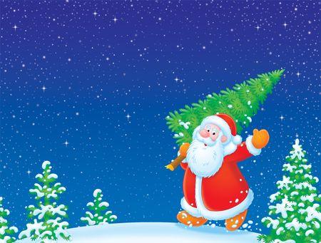 Santa Claus with Christmas tree Stock Photo - 3769094