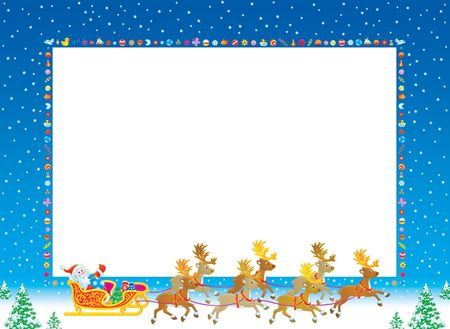 grandfather frost: Christmas photo frame Stock Photo
