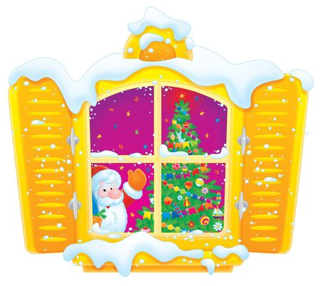 Santa Claus and Christmas tree in the window Stock Photo - 3792164