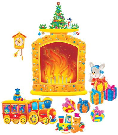 cartoon fireplace: Christmas gifts
