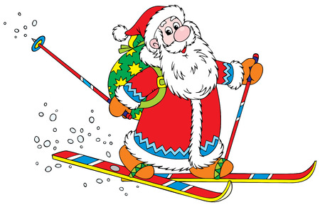 grandfather frost: Santa Claus skier  Illustration