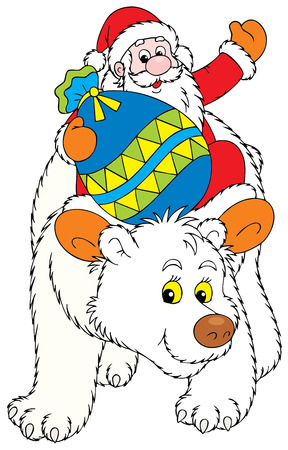Santa Claus travels on the Polar Bear Illustration