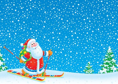 kiddish: Santa Claus skier  Stock Photo