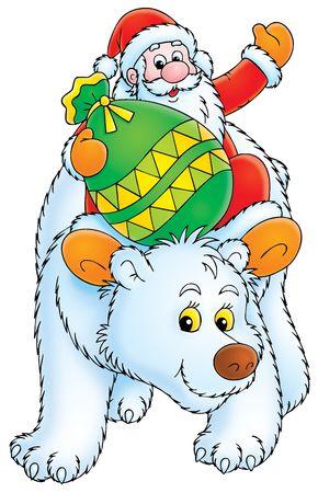 Santa Claus travels on the Polar Bear Stock Photo - 3825670