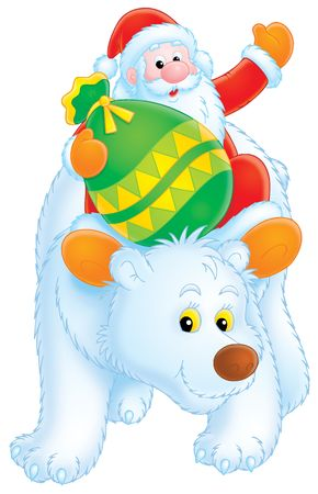 Santa Claus travels on the Polar Bear Stock Photo - 3825669