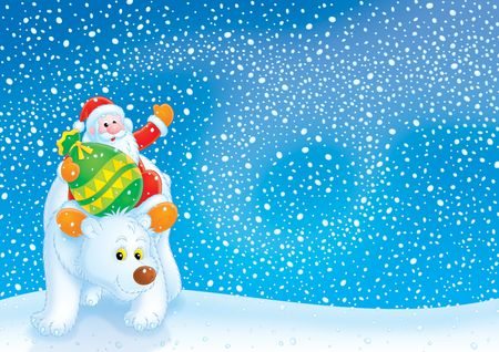 grandfather frost: Santa Claus travels on the Polar Bear Stock Photo