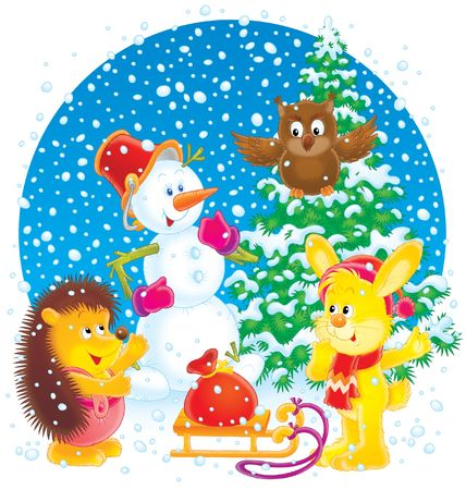 Snowman, rabbit, owl and hedgehog Stock Photo - 3871957