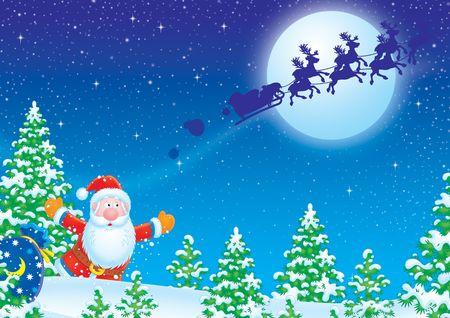 runs: Santa Claus runs after his sledge