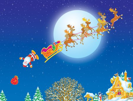 Santa Claus falling out from his sledge with the gifts bag Stock Photo - 3898404