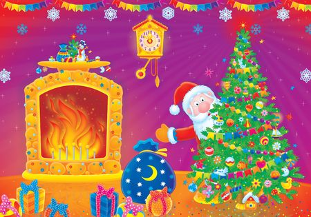 Santa Claus with Christmas gifts Stock Photo - 3898405
