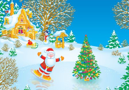 Santa Claus skater Stock Photo - 3898406