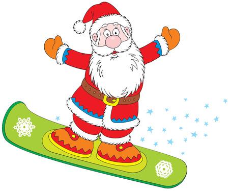 Santa Claus snowboarder Vector
