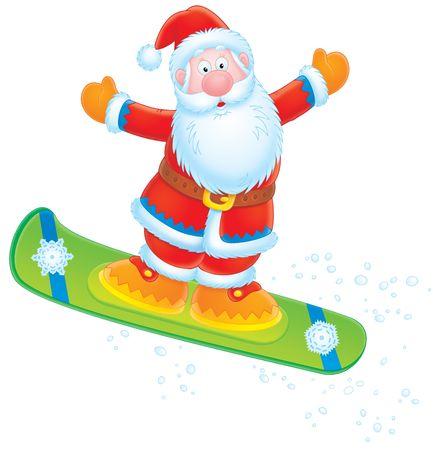 Santa Claus snowboarder Stock Photo - 3906335