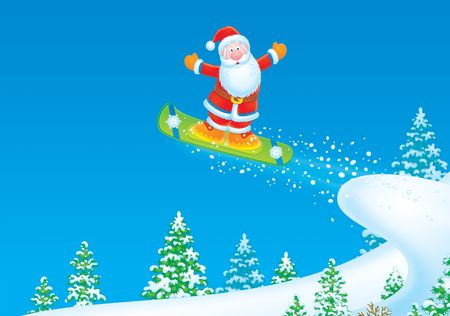 Santa Claus Snowboarder Foto de archivo - 3906336