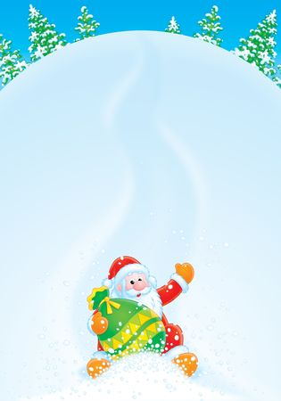 grandfather frost: Christmas background with Santa Stock Photo