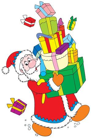 Santa Claus con los regalos de Navidad