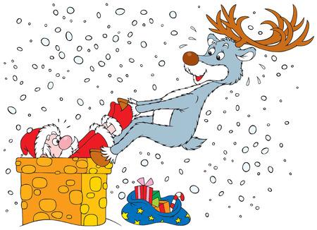 weihnachtsmann lustig: Rentier zieht Santa hat sich in den Schornstein Rohr Illustration